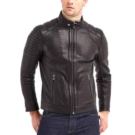 Jace Biker Leather Jacket // Black (S)