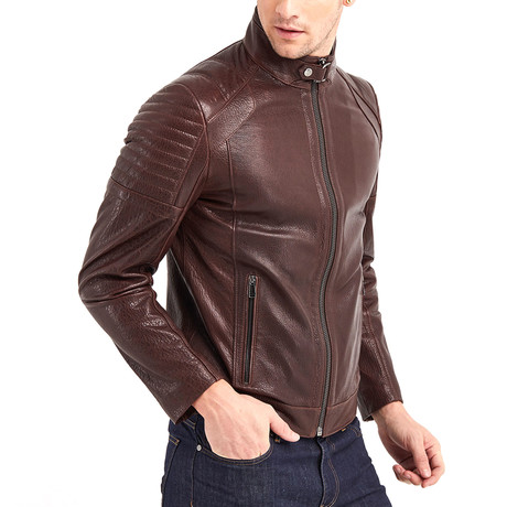 Jace Biker Leather Jacket // Chestnut (S)