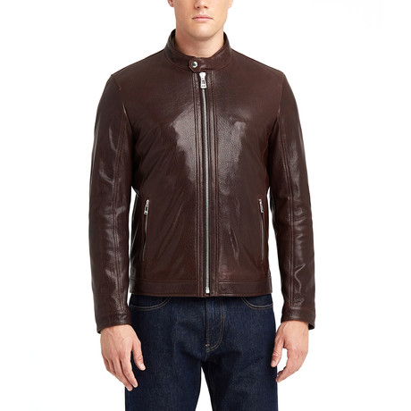 Hugo Buttoned Collar Leather Jacket // Chestnut (S)