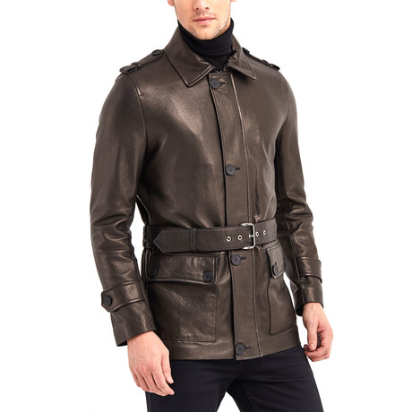 Joseph Leather Jacket // Bronze + Black (S)