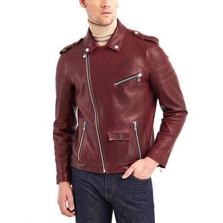 Richard Biker Leather Jacket // Bordeaux (S)
