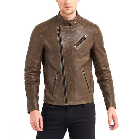 Julio Biker Leather Jacket // Khaki (S)