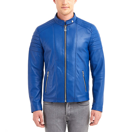 Nathaniel Biker Leather Jacket // Blue (S)