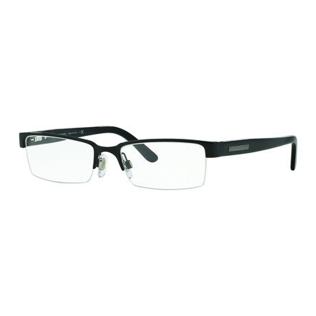 Burberry // Men's Metal Rectangle Optical Frames // Black + Clear