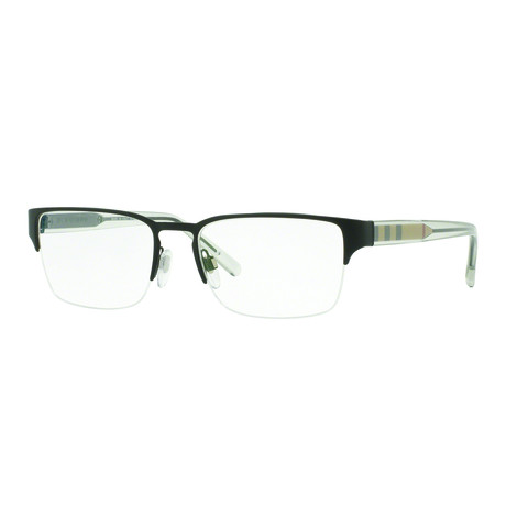 Burberry // Men's Metal Square Optical Frames // Matte Black