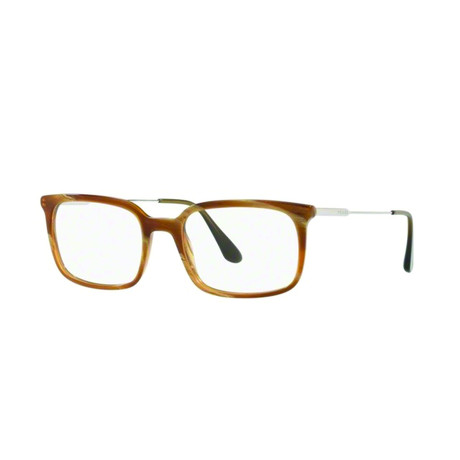 Prada // Men's Geometric Acetate + Metal Optical Frames // Light Horn