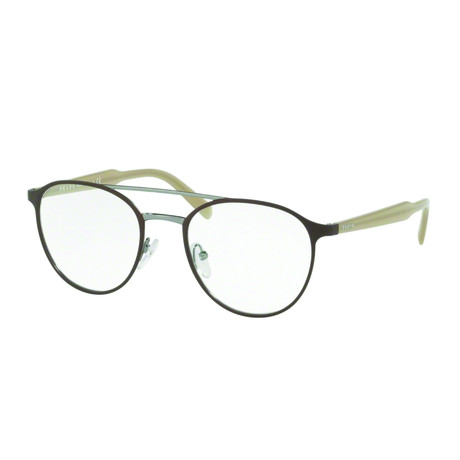 Prada // Men's Top Bar Metal Optical Frames // Matte Brown