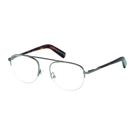 Men's Metal Half Rim Optical Frames // Dark Ruthenium