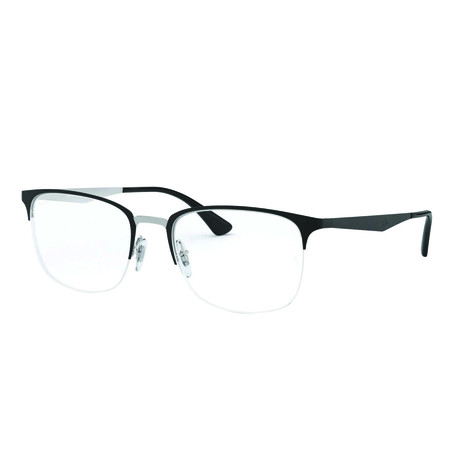 Men's 0RX6433 Rectangle Optical Frames // Black + Silver