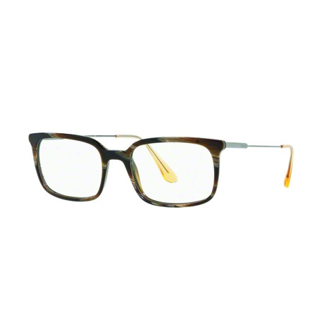 Prada // Men's Geometric Acetate + Metal Optical Frames // Dark Horn