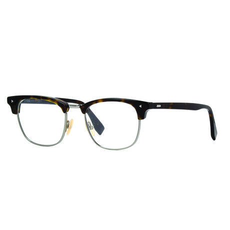 Fendi // Men's Clubmaster Optical Frames // Dark Havana + Silver