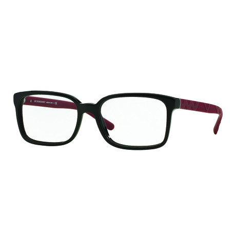 Burberry // Men's Acetate Rectangle Optical Frames // Black + Red