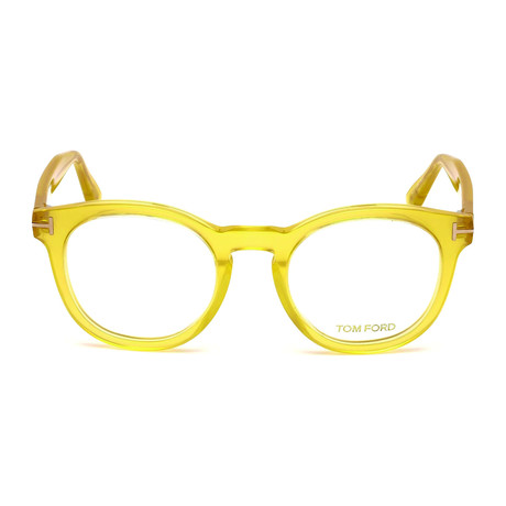 Tom Ford // Men's Round Acetate Optical Frames // Clear Yellow