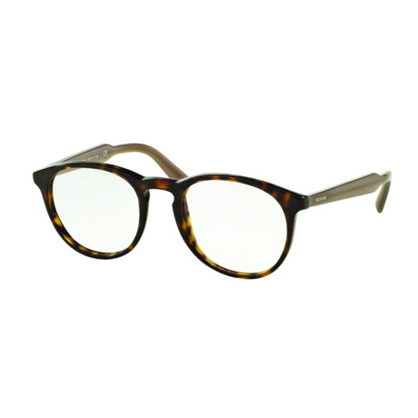Prada // Men's Classic Round Acetate Optical Frames // Havana