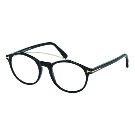 Tom Ford // Men's Acetate Top Bar Round Optical Frames // Black