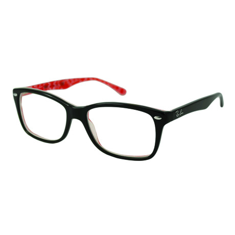 Men's 0RX5228 Wayfarer Optical Frames // Black + Red + White