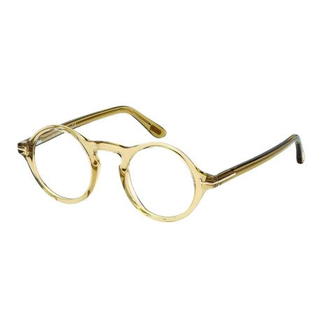 Tom Ford // Men's Clear Brown Round Acetate Optical Frames // Clear Light Brown