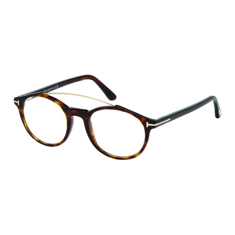 Tom Ford // Men's Acetate Top Bar Round Optical Frames // Tortoise