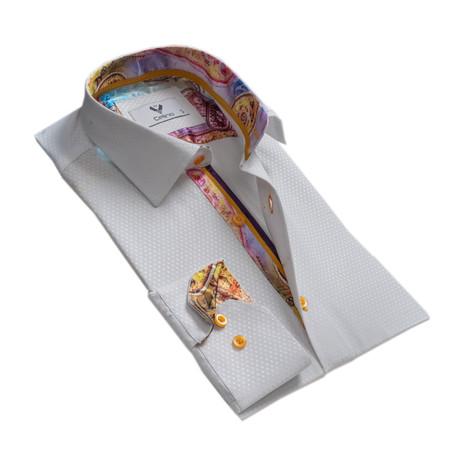 Diamonds Reversible Cuff Button Down Shirt // White (S)