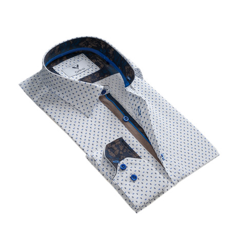 Reversible Cuff Button Down Shirt // White + Blue (S)