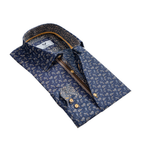 Paisley Reversible Cuff Button Down Shirt // Blue + Gold (S)