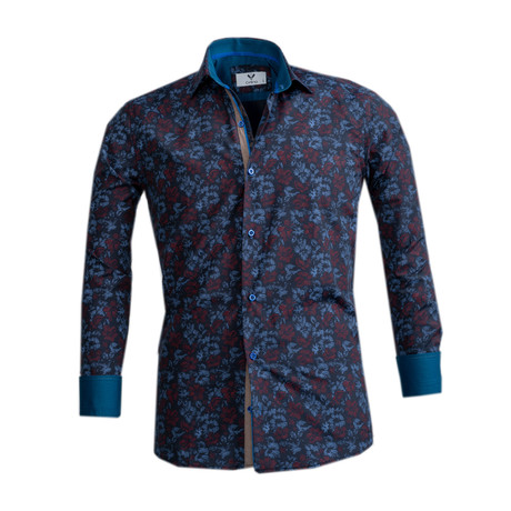 Floral Reversible Cuff Button Down Shirt // Blue + Red (S)