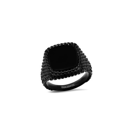 Stainless Steel Black Dotted Black Onyx Square Signet Ring // Black (Size 7)