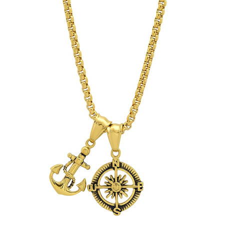 Stainless Steel Anchor + Compass Pendant Necklace // Yellow