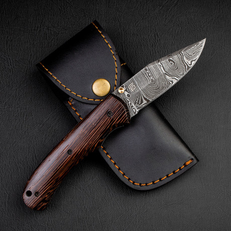 Turing Damascus Steel Folding Knife // Wenge Wood Handle
