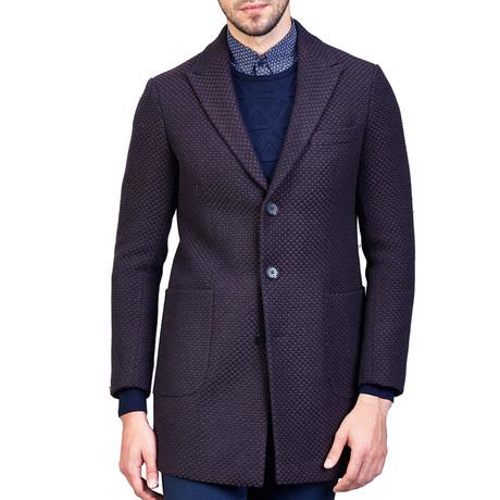 Andre Wool Coat // Brown + Blue (XS)