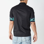 Versace Collection // Polo Shirt // Black + Teal (XL)