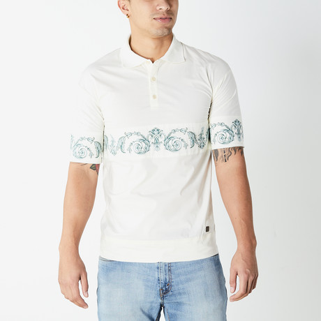 Versace Collection // Polo Shirt // White + Blue (XS)