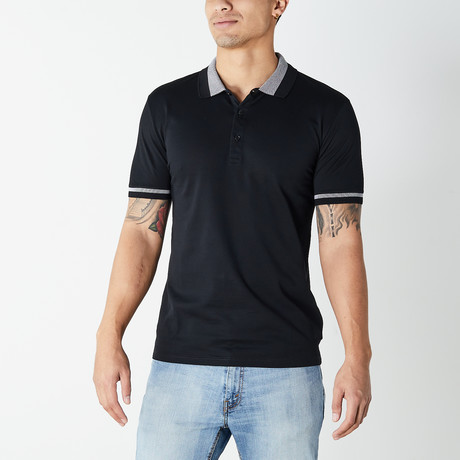 Versace Collection // Polo Shirt // Black + Gray (XS)