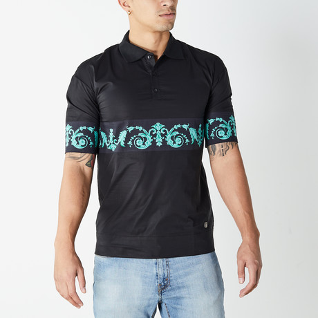 Versace Collection // Polo Shirt // Black + Teal (XS)