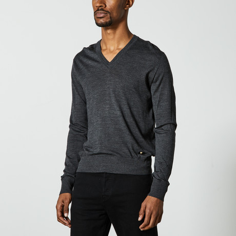 Versace // V-Neck Sweater // Dark Heather Gray (XS)