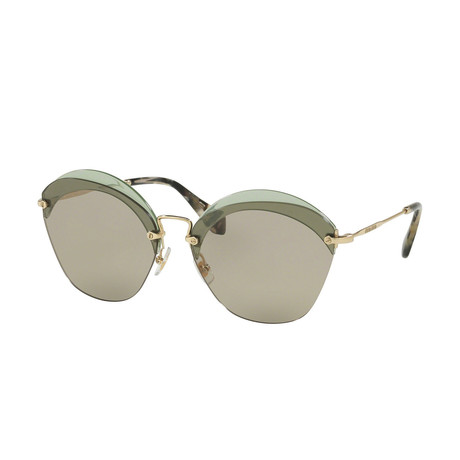 Miu Miu // Women's Sunglasses // Gold Transparent Green + Light Brown