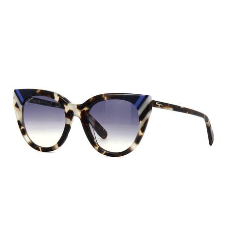 Women's Sunglasses // Dark Gray Havana + Blue Gradient