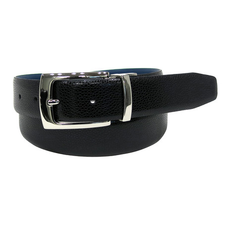 Textured Reversible Belt // Black + Navy (32)