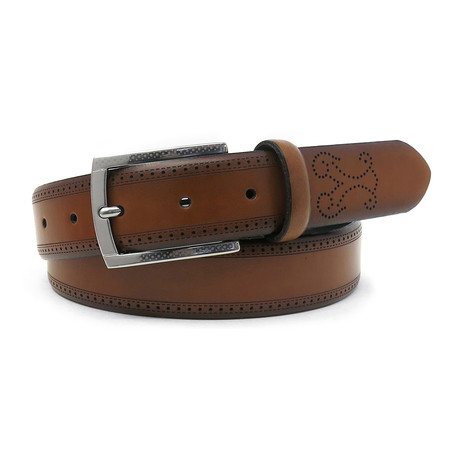 Giovani Italian Leather Dress Belt // Cognac (32)