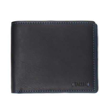 Pop Color Stitched Bi-Fold Wallet (Black)