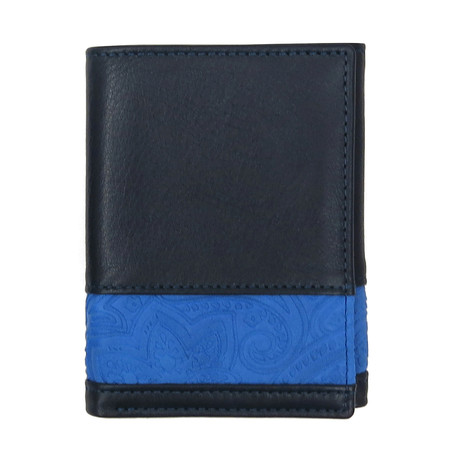 Suede Embossed Tri-Fold Wallet (Navy)