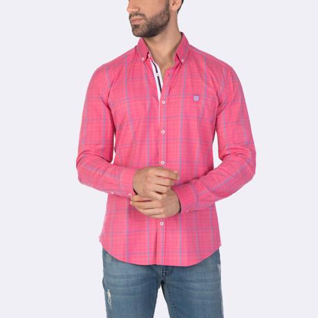 Zaid Dress Shirt // Pink + Blue (XS)