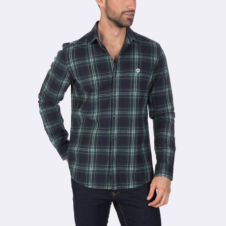 Atticus Dress Shirt // Navy + Green (XS)