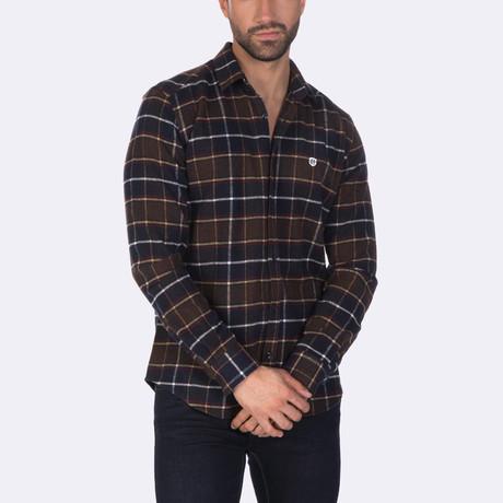 Tata Dress Shirt // Navy + Bordeaux Striped (XS)