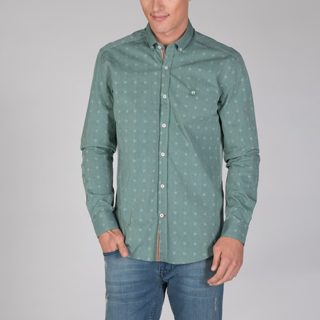 Aquarius Dress Shirt // Green + Beige (XS)