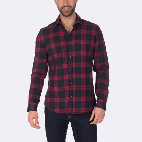 Cassius Dress Shirt // Navy + Red (XS)