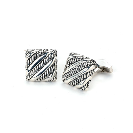 Sterling Silver Slanted Rope Line Design Square Cuff Links
