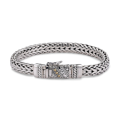 Sterling Silver + 18K Gold Woven Chain Bracelet