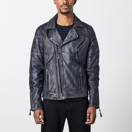 Leather Biker Jacket // Gray (S)