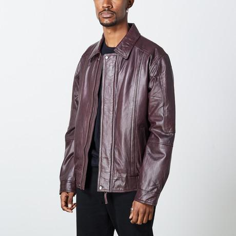 Leonardo Leather Jacket // Wine (S)
